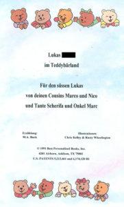 Teddybaerland Widmung